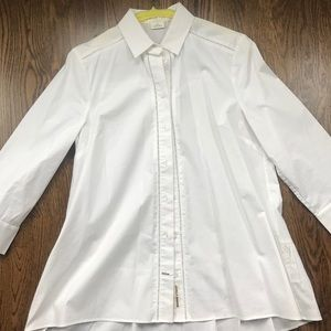 Kate Spade Broome St. White Button Up Ruffle Back
